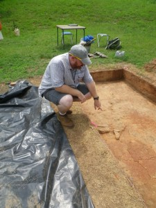 Geoffrey Hughes at the dig site in Old Salem.