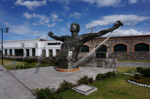 The Museum of the Imbabura Textile Factory (Atuntaqui, Ecuador) with sculpture made from dismantled electric looms